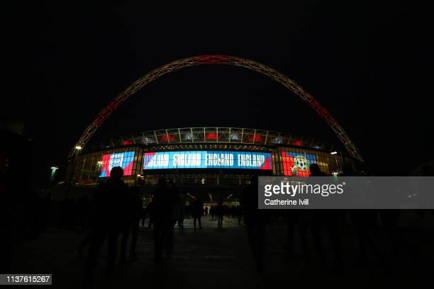 General view outside the stadium prior to the 2020 UEFA European Championships Group A qualifying match between England and Czech Republic at Wembley...