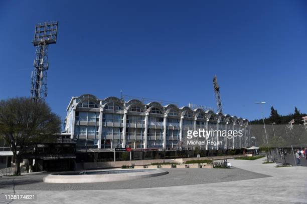 A general view outside the stadium prior to the 2020 UEFA European Championships group A qualifying match between Montenegro and England at Podgorica...