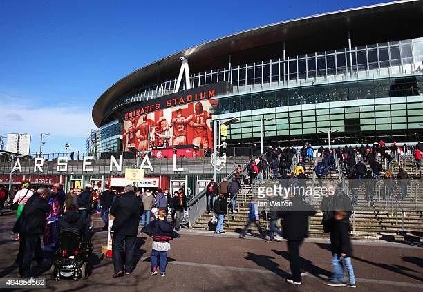 A general view outside the stadium prior to the Barclays Premier League match between Arsenal and Everton at Emirates Stadium on March 1 2015 in...