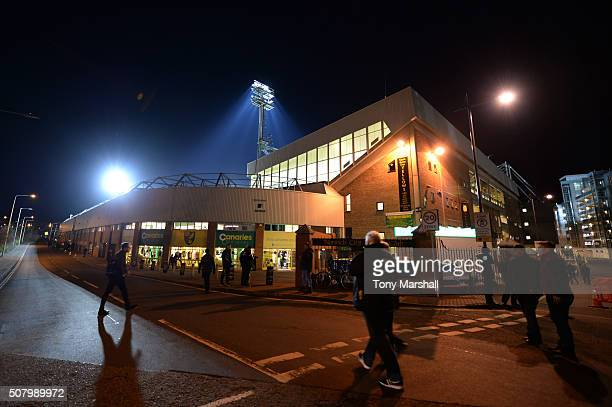 A general view outside the stadium prior to the Barclays Premier League match between Norwich City and Tottenham Hotspur at Carrow Road on February 2...