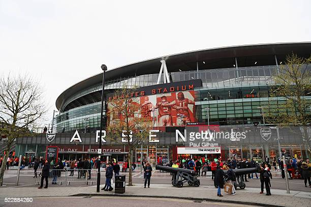 A general view outside the stadium prior to the Barclays Premier League match between Arsenal and West Bromwich Albion at the Emirates Stadium on...