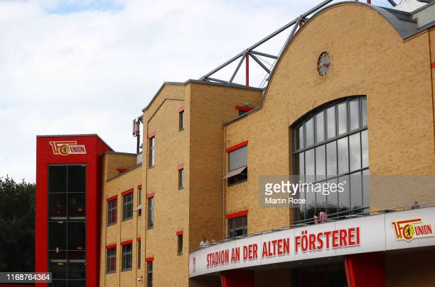 General view outside the stadium prior to the Bundesliga match between 1 FC Union Berlin and RB Leipzig at Stadion An der Alten Foersterei on August...