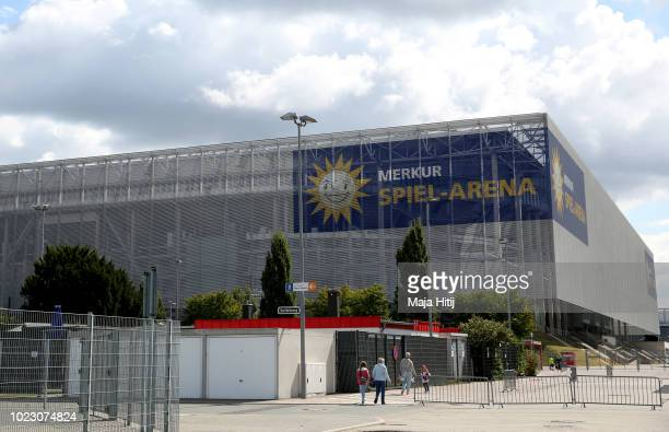 General view outside the stadium prior to the Bundesliga match between Fortuna Duesseldorf and FC Augsburg at EspritArena on August 25 2018 in...