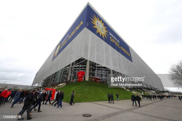 General view outside the stadium prior to the Bundesliga match between Fortuna Duesseldorf and Eintracht Frankfurt at Merkur SpielArena on February...