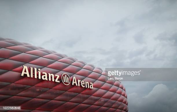 General view outside the stadium prior to the Bundesliga match between FC Bayern Muenchen and TSG 1899 Hoffenheim at Allianz Arena on August 24 2018...