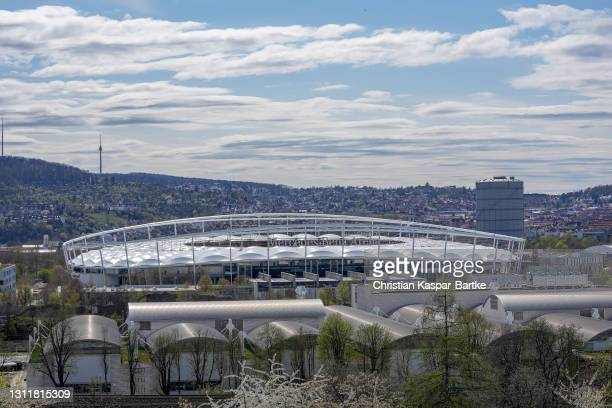 General view outside the stadium prior to the Bundesliga match between VfB Stuttgart and Borussia Dortmund at Mercedes-Benz Arena on April 10, 2021...