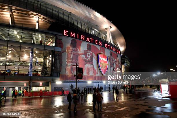 General view outside the stadium prior to the Carabao Cup Quarter Final match between Arsenal and Tottenham Hotspur at Emirates Stadium on December...