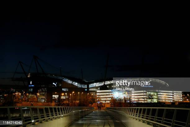 General view outside the stadium prior to the Carabao Cup Round of 16 match between Manchester City and Southampton at Etihad Stadium on October 29,...