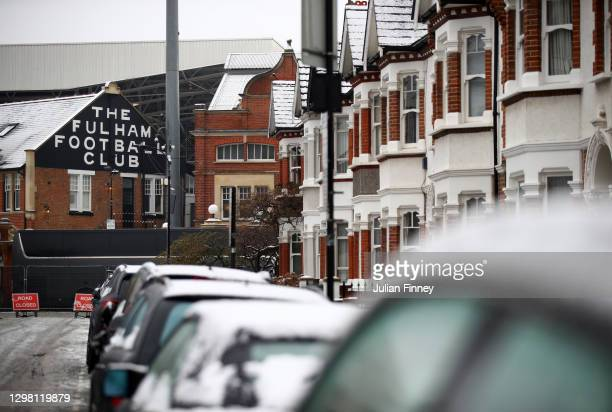 General view outside the stadium prior to The Emirates FA Cup Fourth Round match between Fulham and Burnley at Craven Cottage on January 24, 2021 in...