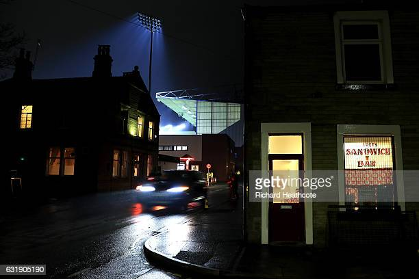 General view outside the stadium prior to the Emirates FA Cup third round replay between Burnley and Sunderland at Turf Moor on January 17 2017 in...