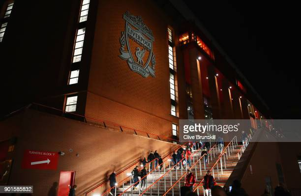A general view outside the stadium prior to the Emirates FA Cup Third Round match between Liverpool and Everton at Anfield on January 5 2018 in...