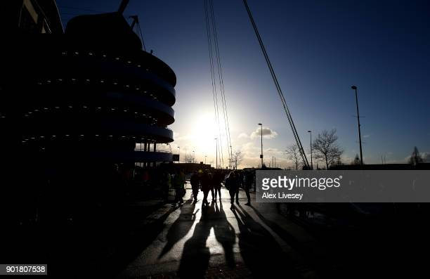 General view outside the stadium prior to The Emirates FA Cup Third Round match between Manchester City and Burnley at Etihad Stadium on January 6...