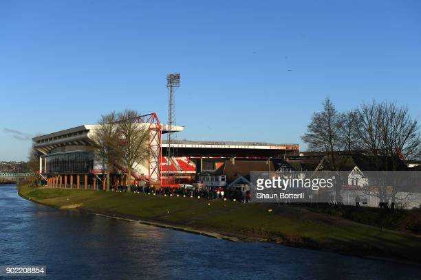 A general view outside the stadium prior to The Emirates FA Cup Third Round match between Nottingham Forest and Arsenal at City Ground on January 7...