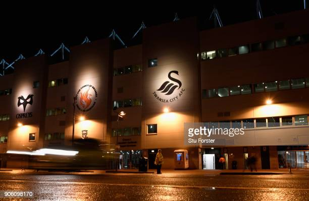 A general view outside the stadium prior to The Emirates FA Cup Third Round Replay between Swansea City and Wolverhampton Wanderers at Liberty...