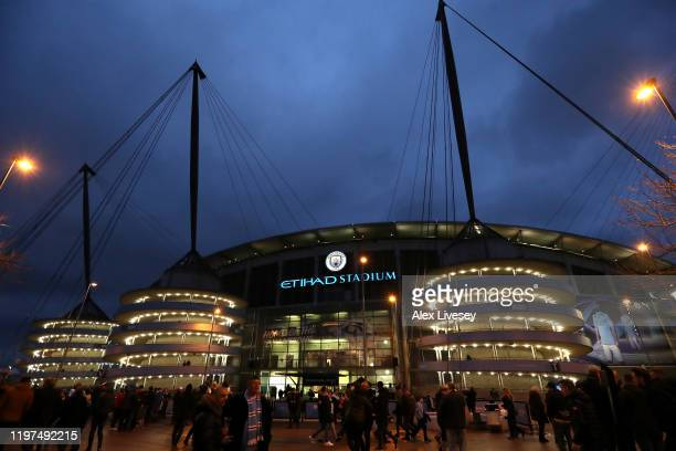 General view outside the stadium prior to the FA Cup Third Round match between Manchester City and Port Vale at Etihad Stadium on January 04, 2020 in...
