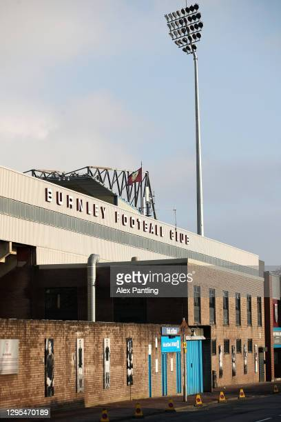 General view outside the stadium prior to the FA Cup Third Round match between Burnley and Milton Keynes Dons at Turf Moor on January 09, 2021 in...