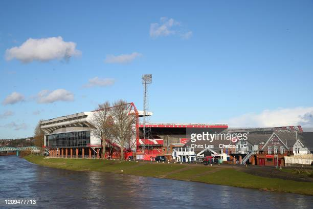 General view outside the stadium prior to the FA Women's Continental League Cup Final Chelsea FC Women and Arsenal FC Women at City Ground on...