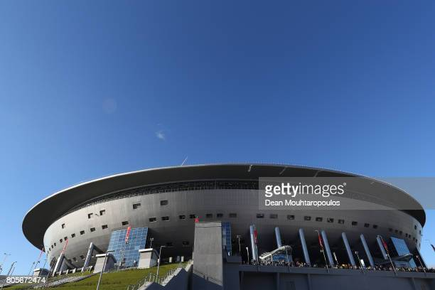 General view outside the stadium prior to the FIFA Confederations Cup Russia 2017 Final between Chile and Germany at Saint Petersburg Stadium on July...