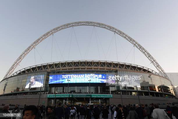 General view outside the stadium prior to the Group B match of the UEFA Champions League between Tottenham Hotspur and FC Barcelona at Wembley...