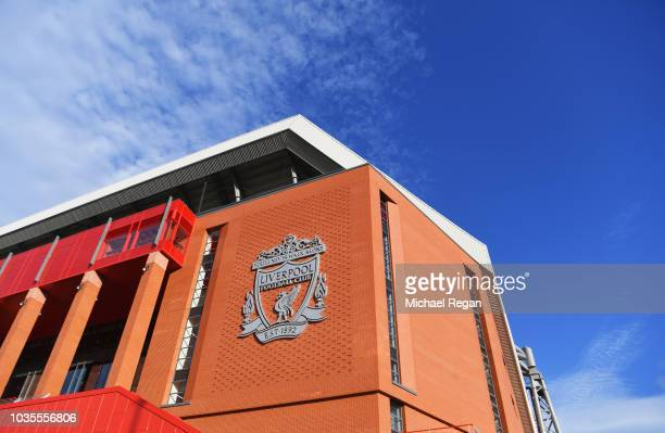 General view outside the stadium prior to the Group C match of the UEFA Champions League between Liverpool and Paris SaintGermain at Anfield on...