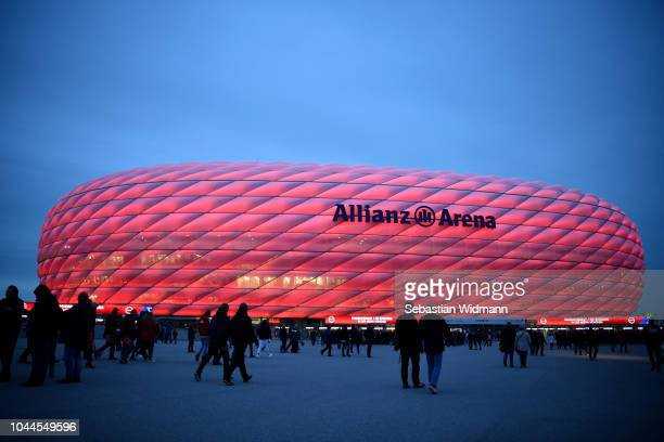 General view outside the stadium prior to the Group E match of the UEFA Champions League between FC Bayern Muenchen and Ajax at Allianz Arena on...