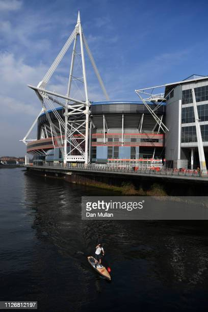 General view outside the stadium prior to the Guinness Six Nations match between Wales and England at Principality Stadium on February 23 2019 in...