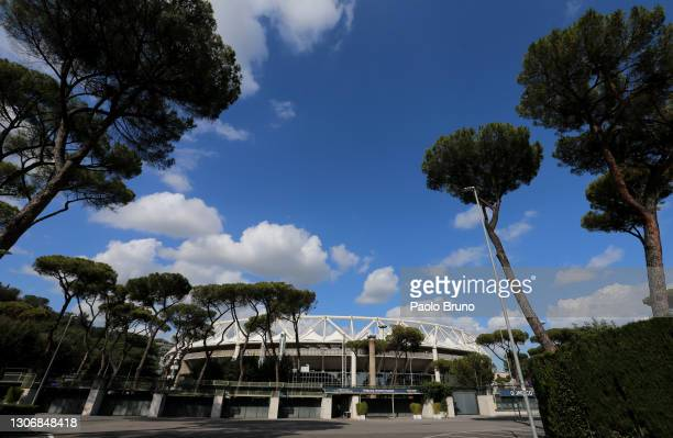 General view outside the stadium prior to the Guinness Six Nations match between Italy and Wales at Stadio Olimpico on March 13, 2021 in Rome, Italy....