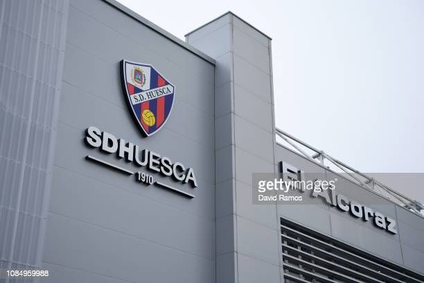 General view outside the stadium prior to the La Liga match between SD Huesca and Club Atletico de Madrid at Estadio El Alcoraz on January 19 2019 in...
