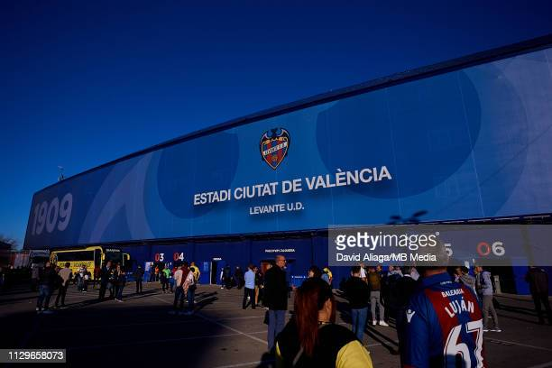 General view outside the stadium prior to the La Liga match between Levante UD and Villarreal CF at Ciutat de Valencia on March 10, 2019 in Valencia,...