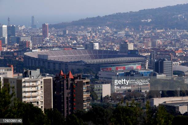 General view outside the stadium prior to the La Liga Santander match between FC Barcelona and Valencia CF at Camp Nou on December 19, 2020 in...