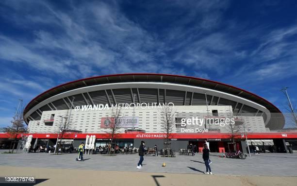 General view outside the stadium prior to the La Liga Santander match between Atletico de Madrid and Deportivo Alavés at Estadio Wanda Metropolitano...
