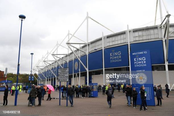 General view outside the stadium prior to the Premier League match between Leicester City and Everton FC at The King Power Stadium on October 6 2018...