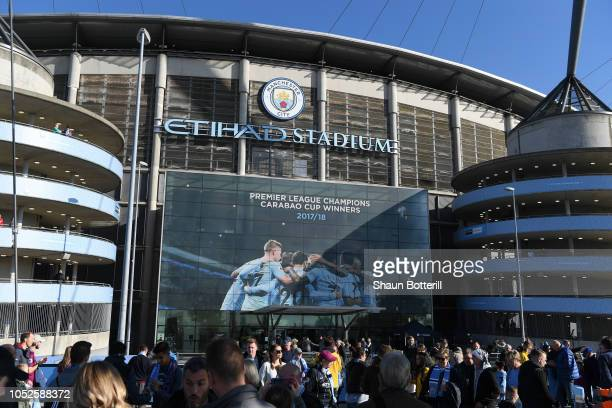 General view outside the stadium prior to the Premier League match between Manchester City and Burnley FC at Etihad Stadium on October 20 2018 in...