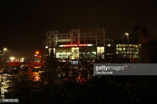 A general view outside the stadium prior to the Premier League match between Manchester United and Arsenal FC at Old Trafford on December 5 2018 in...