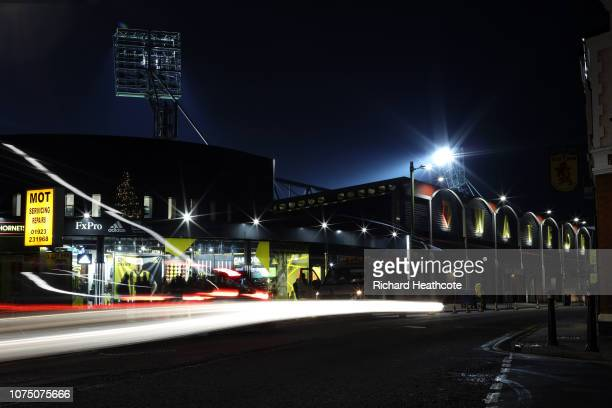 General view outside the stadium prior to the Premier League match between Watford FC and Chelsea FC at Vicarage Road on December 26 2018 in Watford...