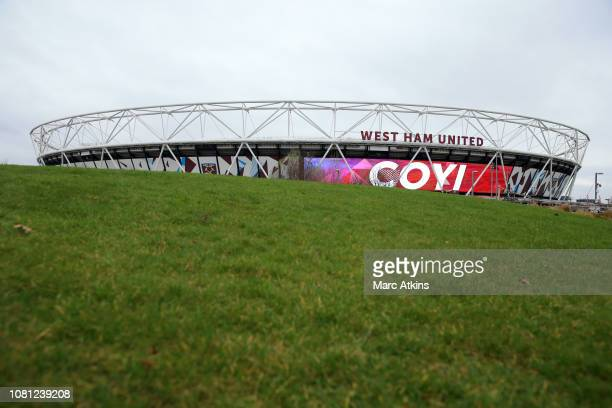 General view outside the stadium prior to the Premier League match between West Ham United and Arsenal FC at London Stadium on January 12 2019 in...