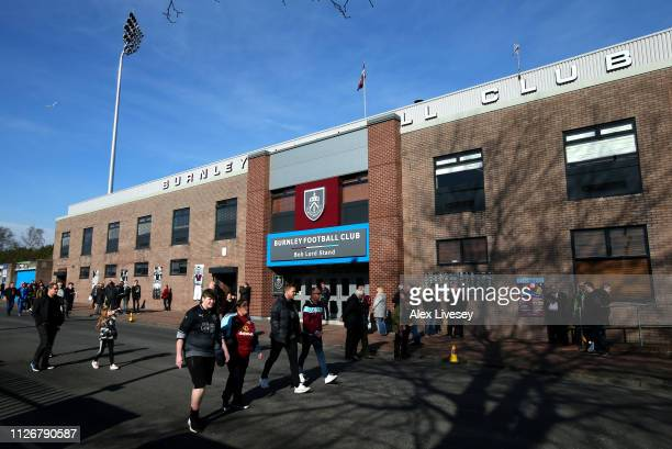 General view outside the stadium prior to the Premier League match between Burnley FC and Tottenham Hotspur at Turf Moor on February 23, 2019 in...