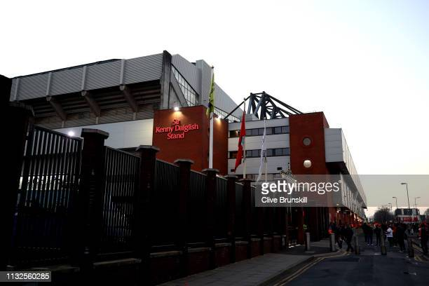 General view outside the stadium prior to the Premier League match between Liverpool FC and Watford FC at Anfield on February 27 2019 in Liverpool...