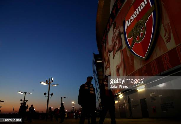 General view outside the stadium prior to the Premier League match between Arsenal FC and AFC Bournemouth at Emirates Stadium on February 27 2019 in...