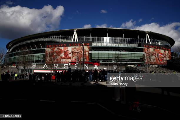 General view outside the stadium prior to the Premier League match between Arsenal FC and Manchester United at Emirates Stadium on March 10 2019 in...