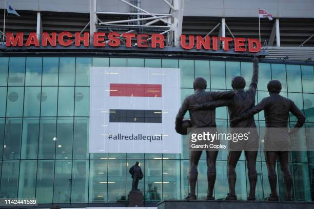 General view outside the stadium prior to the Premier League match between Manchester United and West Ham United at Old Trafford on April 13 2019 in...