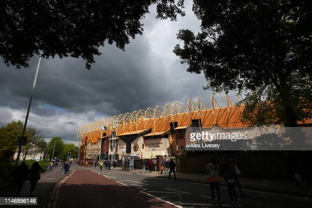 General view outside the stadium prior to the Premier League match between Wolverhampton Wanderers and Fulham FC at Molineux on May 04 2019 in...