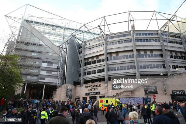 General view outside the stadium prior to the Premier League match between Newcastle United and Liverpool FC at St. James Park on May 04, 2019 in...