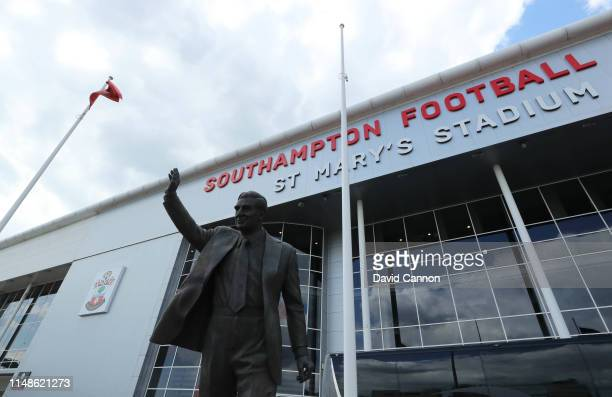 General view outside the stadium prior to the Premier League match between Southampton FC and Huddersfield Town at St Mary's Stadium on May 12 2019...
