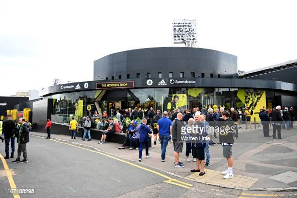 General view outside the stadium prior to the Premier League match between Watford FC and Brighton & Hove Albion at Vicarage Road on August 10, 2019...