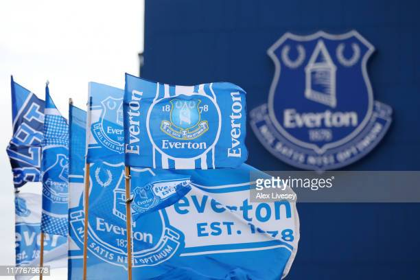 General view outside the stadium prior to the Premier League match between Everton FC and Manchester City at Goodison Park on September 28, 2019 in...