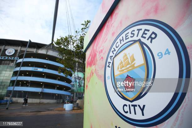 General view outside the stadium prior to the Premier League match between Manchester City and Wolverhampton Wanderers at Etihad Stadium on October...