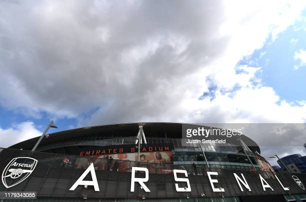 General view outside the stadium prior to the Premier League match between Arsenal FC and AFC Bournemouth at Emirates Stadium on October 06, 2019 in...