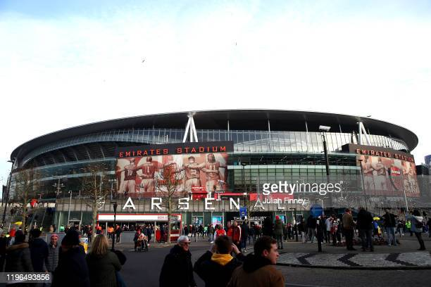 General view outside the stadium prior to the Premier League match between Arsenal FC and Chelsea FC at Emirates Stadium on December 29, 2019 in...