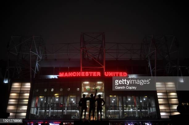General view outside the stadium prior to the Premier League match between Manchester United and Burnley FC at Old Trafford on January 22, 2020 in...
